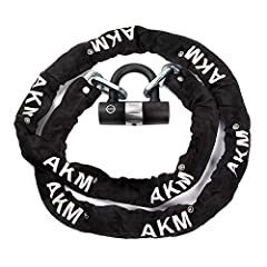 AKM Heavy Duty Chain lock specification: Inside the packing are: 16mm U lock +0.9m/1.2m/1.6m/2m chain+2 key COLOR: Black WEIGHT: 0.9M: 2.4kg / 5.3lb 1.2M: 3.1kg / 6.8lb 1.6M: 3.95kg / 8.7lb 2M: 4.55kg / 10lb SIZE:  You have a variety of lengt...