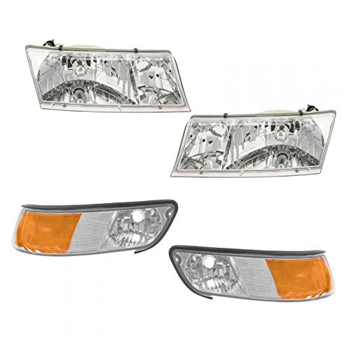 Headlights & Parking Corner Lights Left & Right Kit Set for 99-02 Grand Marquis ()