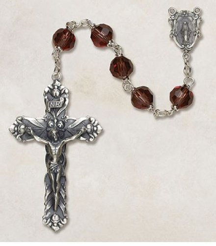 Sterling Silver Amethyst Vienna Collection Rosary 8mm Bead Austrian Crystal--2 1/4