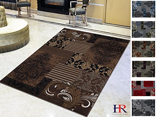 Handcraft Rugs Abstract Area Rug Modern Contemporary Floral and Patchwork Geometric Design Chocolate Brown/Beige/Mocha/(7.8 ft.by 10 ft, Chocolate)