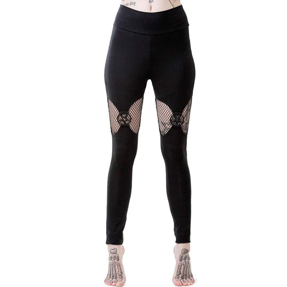 D.Roc Women Black Pentagram Leggings Gothic Black Chic Cool Punk Style Thin Plain Hollow Patchwork Female Goth Pants Legging