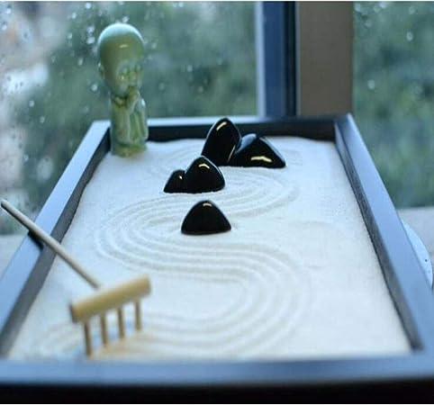 Laogg Jardin Zen Estilo Chino Sala de Estar Mesa de Té Micro Paisaje Zen Adornos de Escritorio Mesa de Arena Seca de Montaña Accesorios para El Hogar Regalo: Amazon.es: Hogar