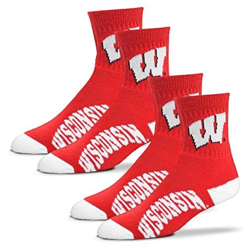 For Bare Feet Men's Quarter Socks-Wisconsin Badgers-Large-Cardinal-2 Pack - Wisconsin Badger Logo Watch