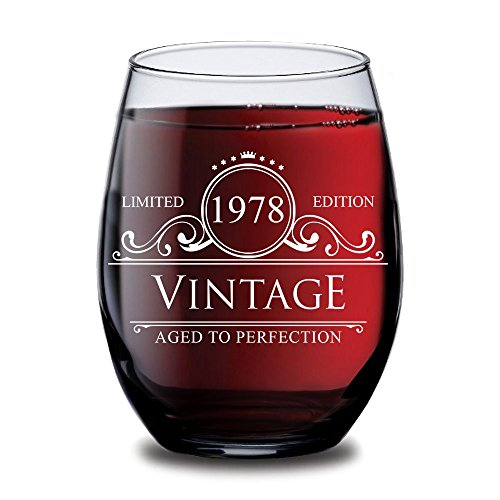 1978 40th Birthday Gifts for Women and Men Wine Glass - Circle Vintage Ruby Anniversary Gift Ideas for Him, Her, Husband or Wife. Cups for Dad and Mom.15 oz Glasses. (Vintage Ruby Glass)