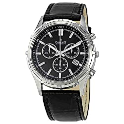 Men's Black Leather Band Sapphire Crystal Watch