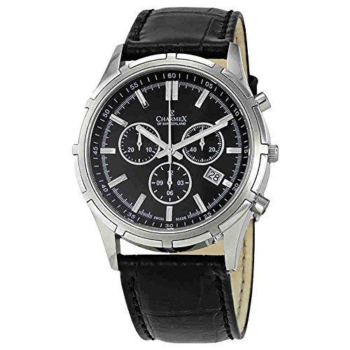 Charmex Men's Hockenheim 42mm Black Leather Band Steel Case Sapphire Crystal Quartz Analog Watch 2841