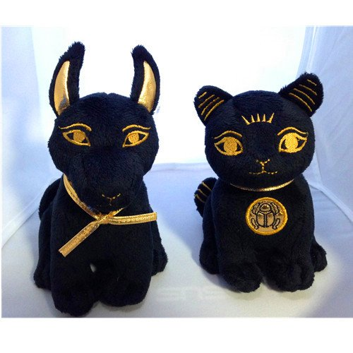 Bundle Deal. Egyptian Plush Black and Gold Bastet Cat & Anubis Stuffed Animal. So (Plush Egyptian Toy)