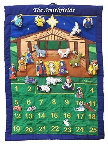 Pockets of Learning Personalized Nativity Manger Advent Calendar, Holiday Décor, Crèche Scene, Christmas Fabric Wall Hanging, Cloth Countdown
