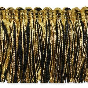 Brush Black Fringe (Chenille Fiber Brush Fringe Trim Black/Gold)
