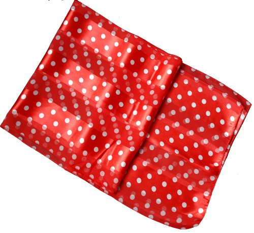 Sheer-Delights Polka Dot Satin Stripe Oblong Scarf / Sash Belt / (Red Polka Dot Satin)