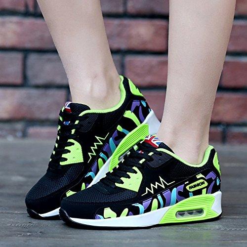 ... Padgene Kvinners Jenter Kjører Trenere Gym Fitness Sneaker Sport  Joggesko Støtabsorberende Størrelse Luft Walking Trenere Svart