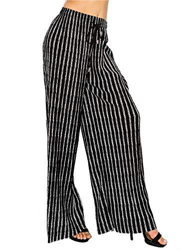 Made by T Women's Wide Leg Palazzo Pants - High Waist Maxi Long Lounge Pleated Pants 3 Plus Size