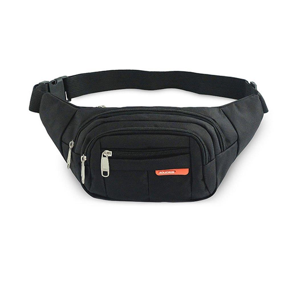 Waterproof Fanny Pack Waist Packs Running Belt Adjustable Black for Men&Women,4-Pockets Design for Phone Money Keys Cards and More,Maximum Waist 44 inches