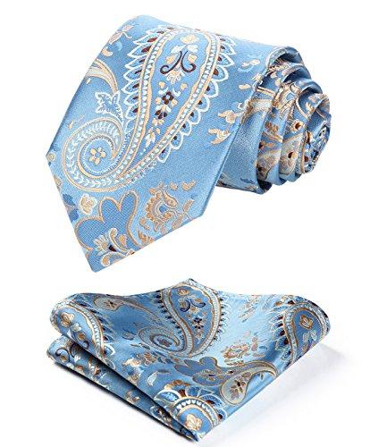 Enmain Paisley Floral Jacquard Woven Men's Wedding Silk Tie Pocket Square Necktie Set Blue / Grey