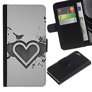 KingStore / Leather Etui en cuir / Apple Iphone 5 / 5S / Dibujo Corazón Amor del Corazón Naturaleza Pájaro Flores