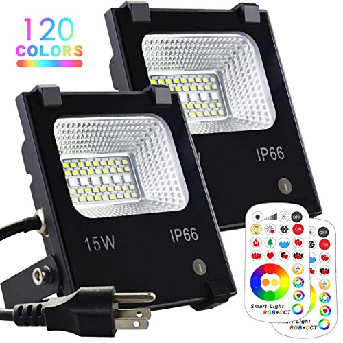 (MELPO 15W LED Flood Light Outdoor, Color Changing RGB Floodlight with Remote, 120 RGB Colors, Warm White to Daylight Tunable, IP66 Waterproof, US 3-Plug (2 Pack))