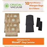 Crucial Vacuum 10 Bissell Zing Canister 7100 & 7100L Bags & 4 Filters, Part # 3210,