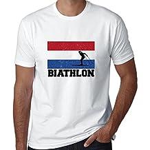 Hollywood Thread Netherlands Olympic - Biathlon - Flag - Silhouette Men's T-Shirt