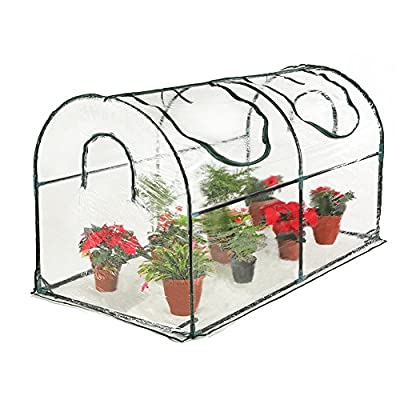 "Seven colors house Reinforced Portable Mini Greenhouse 35.4""x70.8""x39"" Vegetable Plant Mini Arc Greenhouse with Clear Cover for Indoor & Outdoor Plants"