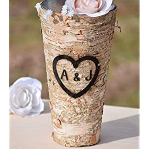 "Personalized Birch Vase - Engraved Birch Vase - Wood Planter - Personalized Wedding Gift - 9"" Vase - Birch Bark Vase - Anniversary Gift 50"