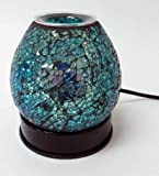 Scentoils Blue Crackled Glass Touch Oil Burner #93