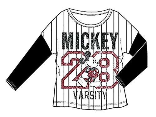 Disney Mickey Mouse Varsity 28 With Stripes Adult Long Sleeve T Shirt