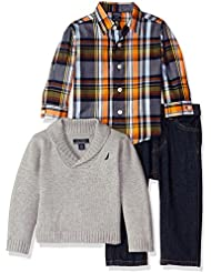 Nautica Baby Boys' Three Piece Set with Woven Shirt, Collar Sweater and Pant