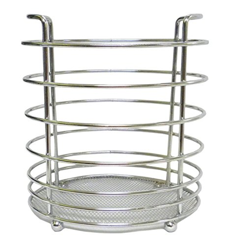 KITCHEN UTENSIL HOLDER CHROME FINISH COMPACT STORAGE FOR ALL YOUR GADGETS - STANDS ON LEGS