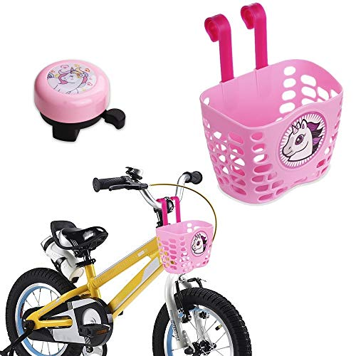 Mini-Factory Kid's Bike Basket and Bell 2pcs Play Set for Kid Girls, Cute Pink Cartoon Unicorn Pattern Bicycle Handlebar Basket Plus Safe Cycling Ring Horn (Basket + Ring Horn) ()