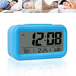 JUNCHI Digital Alarm Clock, Smart Simple and Silent Led Travel Desk Morning Alarm Clock with Date/Time/Temperature Display, Large Screen, Snooze, Night Light Function, Battery Powered (Blue)