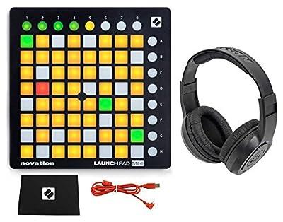 Novation LAUNCHPAD MINI MK2 MKII USB MIDI DJ Controller 64-Pad+Samson Headphones by Novation