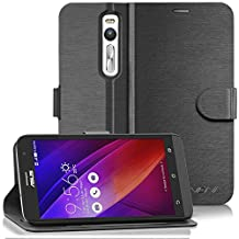 Vena Asus ZenFone 2 Wallet Case [vSuit] Draw Bench PU Leather Snap Case Cover with [Card Pockets] for Asus ZenFone 2 (5.5-inch) (Black)