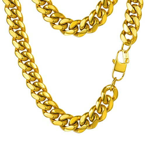 PROSTEEL Miami Cuban Gold Mens Chain,Hip Hop Summer Jewelry Hiphop Gold Chains for Men Women Heavy Chunky Necklace