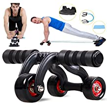 SUN 3 Wheel Abdominal Exercise Workout Machine Body Gym Home Fitness Best Exercise Equipment For Abs(Black and Pink)