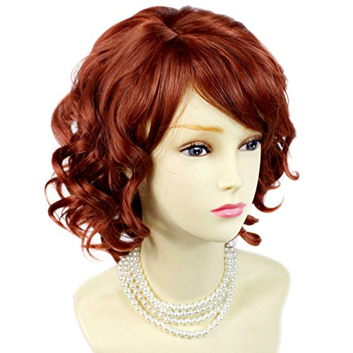 [NEW !!! Lovely Short Wig Curly Fox Red Summer Style Skin Top Ladies Wigs UK by Wiwigs] (Short Curly Wig)