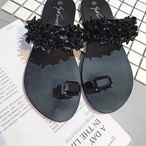 Chaussures Strass Non Sandales Noir Femme Modaworld Noir Eu Chaussons 40 Appartement argent Bohême Ete Ouvert Casual slip 42 Chic Femmes Toe PqYwrP