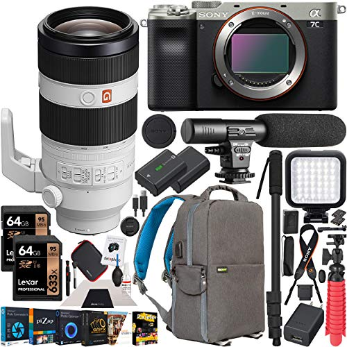 Sony a7C Mirrorless Full Frame Camera Body with FE 100-400mm F4.5-5.6 GM G Master Super Telephoto Zoom Lens SEL100400GM Silver ILCE7C/S Bundle with Deco Gear Backpack Case, Software and Accessories