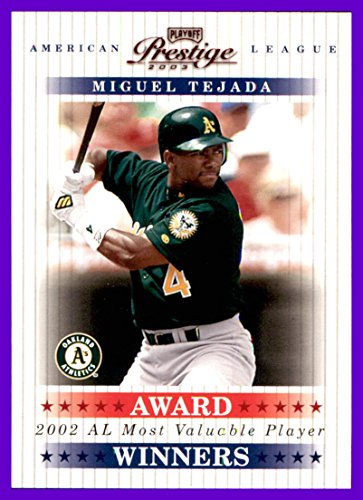 2003 Playoff Prestige Award Winners #8 Miguel Tejada OAKLAND A's ATHLETICS Serial #933/2002 - 2003 Playoff Prestige Award