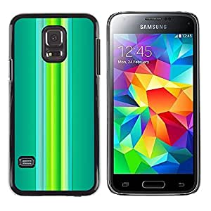 LECELL--Funda protectora / Cubierta / Piel For Samsung Galaxy S5 Mini, SM-G800, NOT S5 REGULAR! -- Green Teal Vibrant Spring Lines --