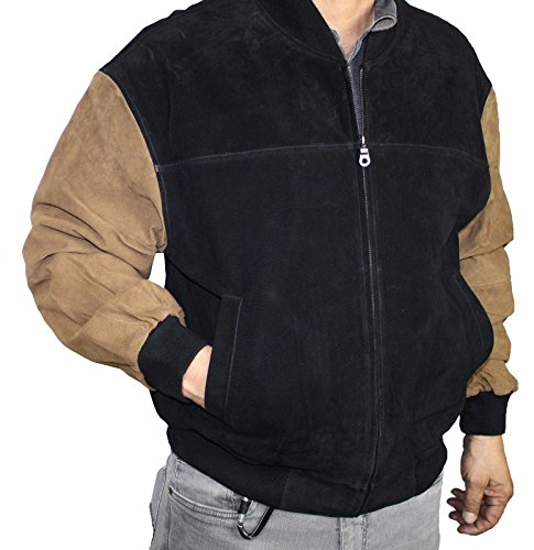 Men's Genuine pig napa suede Leather front zipper closure classic bmomber jacket_X Large (Suede Jacket Leather Varsity)