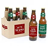 Red and Green - 6 Holiday Beer Bottle Label with 1 Beer Carrier