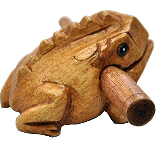 Wood Frog Guiro Rasp - Musical Instrument Tone Block,Natural Finish ,Medium 4