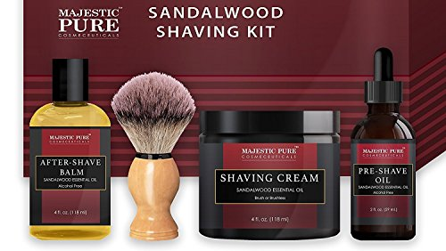 Majestic Pure Shaving Kit for Men with Sandalwood - Set Includes Pre Shave Oil, Shaving Cream, Badger Shaving Brush, and After Shave Balm (4 Pieces), Perfect Gift Set