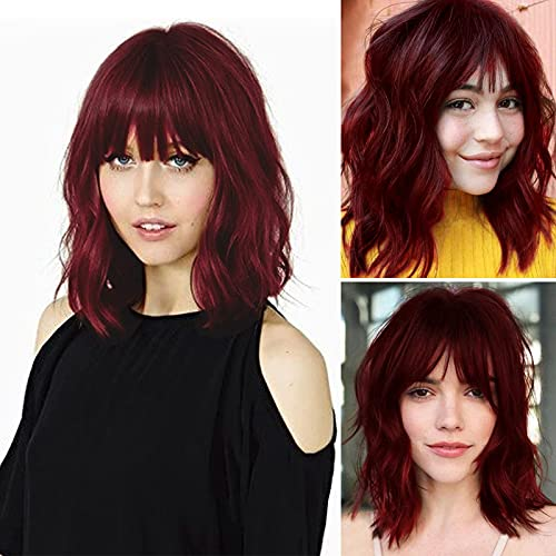 UHIBROS Short Wig With Bangs For Women Wine Red Wigs Highlight Synthetic Heat Resistant Bob Wavy Wig For Girl Colorful Cosplay,Party, Natural Looking Daily Wigs (14 Inch)