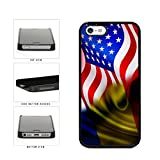 BleuReign(TM) Romania And USA Mixed Flag Plastic Phone Case Back Cover Apple iPhone 5 5s and iPhone SE