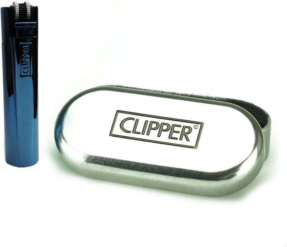 mit SOFORTGRAVUR +VORSCHAU: Gravur inklusive Clipper Metall Gas-Feuerzeug deep Blue Gasfeuerzeug, nachf/üllbar