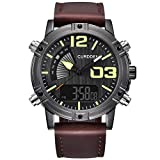 SUKEQ Fashion Men Luminous Quartz Watch Army Military Leather Band Chronograph Alarm Watch Waterproof Sport Wristwatch CURDDEN Watch (Coffee)