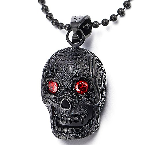 Cubic Skull Pendant - COOLSTEELANDBEYOND Men Women Stainless Steel Black Sugar Skull Pendant Necklace with Red Cubic Zirconia, 30 inch Chain