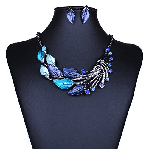 Crystal peacock necklace