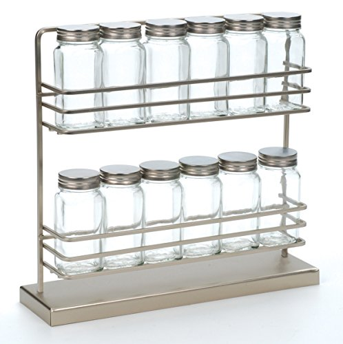 """Freestanding Spice Rack with Spice Jars (Brushed Steel) (12 1/2""""W x 3 1/2""""D x 12""""H)"""